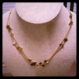 Stella and Dot long gold triangle necklace